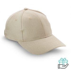 Baseball cap geborsteld katoen khaki bedrukken