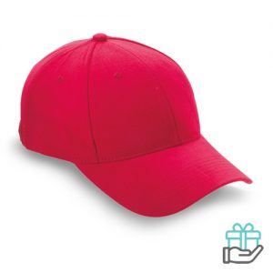 Baseball cap geborsteld katoen rood bedrukken
