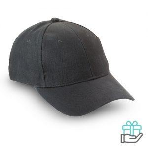 Baseball cap geborsteld katoen zwart bedrukken