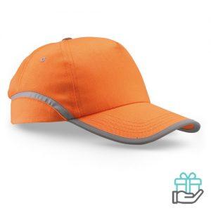 Baseball cap reflectie oranje bedrukken