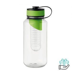 Bidon BPA fruitcompartiment XL limegroen bedrukken