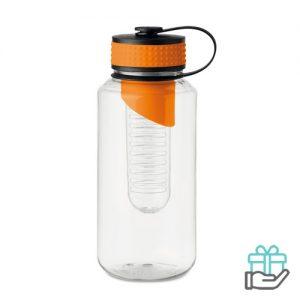 Bidon BPA fruitcompartiment XL oranje bedrukken