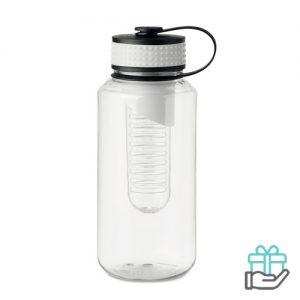 Bidon BPA fruitcompartiment XL wit bedrukken