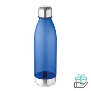 Bidon Tritan melkflesvorm 600ml transparant blauw bedrukken