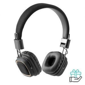 Bluetooth koptelefoon vierkant zwart bedrukken