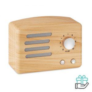 Bluetooth luidspreker 4.2 houtkleur bedrukken