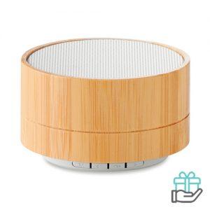 Bluetooth luidspreker bamboe oplaadbaar wit bedrukken