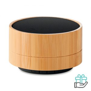 Bluetooth luidspreker bamboe oplaadbaar zwart bedrukken