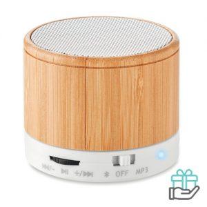 Bluetooth luidspreker bamboe wit bedrukken
