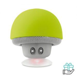 Bluetooth luidspreker paddenstoel limegroen bedrukken