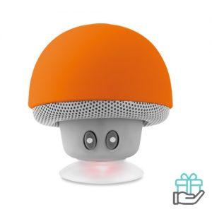 Bluetooth luidspreker paddenstoel oranje bedrukken