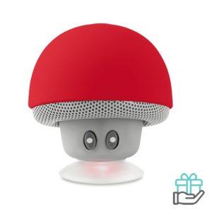 Bluetooth luidspreker paddenstoel rood bedrukken