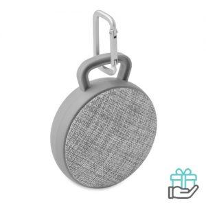Bluetooth luidspreker rond grijs bedrukken