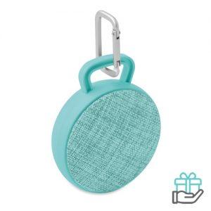 Bluetooth luidspreker rond turquoise bedrukken