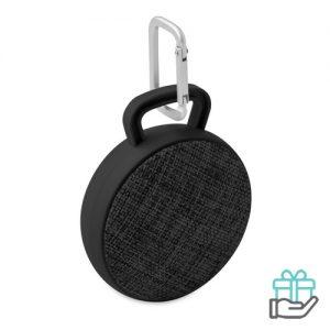 Bluetooth luidspreker rond zwart bedrukken