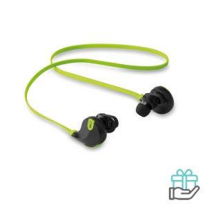 Bluetooth oortelefoon stereo limegroen bedrukken