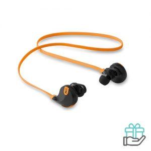 Bluetooth oortelefoon stereo oranje bedrukken