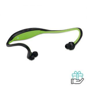 Bluetooth oortjes nekband limegroen bedrukken