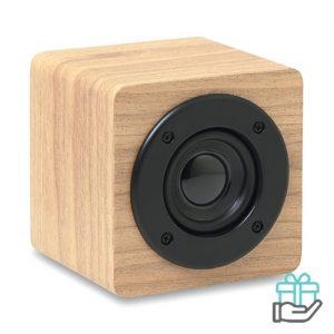 Bluetoothluidspreker boxje versterker houtkleur bedrukken