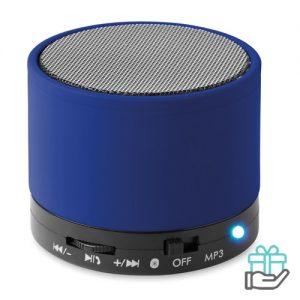 Bluetoothluidspreker rubber rond koninklijk blauw bedrukken