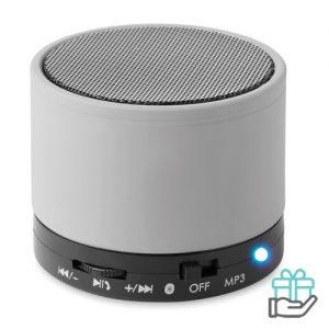 Bluetoothluidspreker rubber rond mat zilver bedrukken