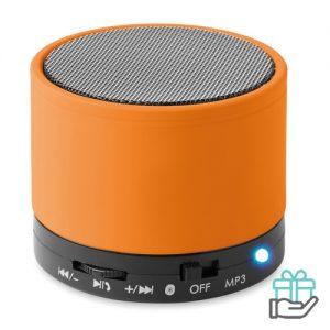 Bluetoothluidspreker rubber rond oranje bedrukken