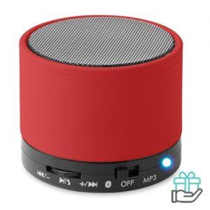 Bluetoothluidspreker rubber rond rood bedrukken