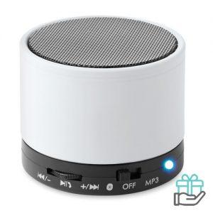 Bluetoothluidspreker rubber rond wit bedrukken