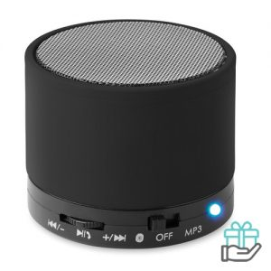 Bluetoothluidspreker rubber rond zwart bedrukken