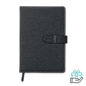 Canvas A5 notitieboek grijs bedrukken