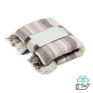 Chenille deken beige bedrukken
