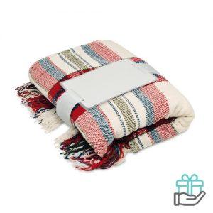 Chenille deken rood bedrukken