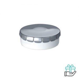 Click clack pepermuntdoosje mat zilver bedrukken