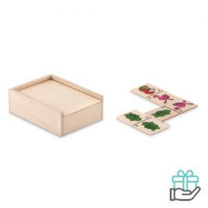 Dominospel 28-delig houten doos houtkleur bedrukken