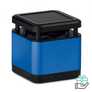 Draadloze luidspreker cube koninklijk blauw bedrukken