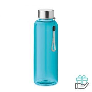 Drinkfles RVS dop 500ml transparant blauw bedrukken