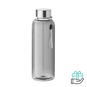 Drinkfles RVS dop 500ml transparant grijs bedrukken
