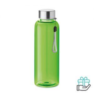 Drinkfles RVS dop 500ml transparant limegroen bedrukken