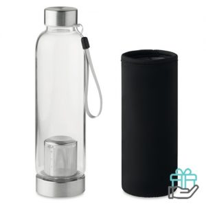 Drinkfles glas 500ml zwart bedrukken