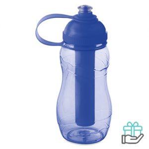 Drinkfles koelelement 400ml transparant blauw bedrukken