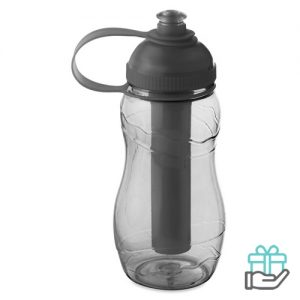 Drinkfles koelelement 400ml transparant grijs bedrukken