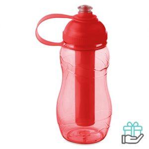 Drinkfles koelelement 400ml transparant rood bedrukken