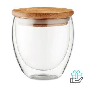 Dubbelwandig glas 250ml transparant bedrukken