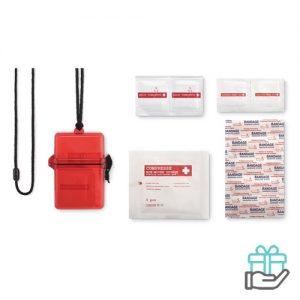 Eerste hulp kit transparant rood bedrukken