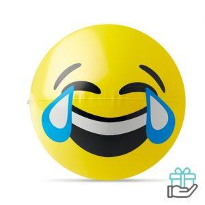 Emoticon strandbal huilen lachen geel bedrukken