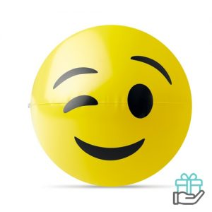 Emoticon strandbal knipoog geel bedrukken