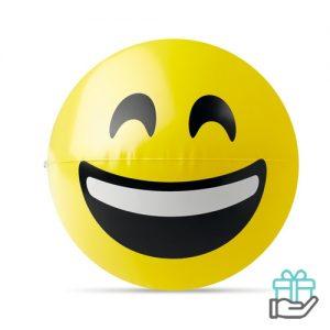 Emoticon strandbal smile geel bedrukken