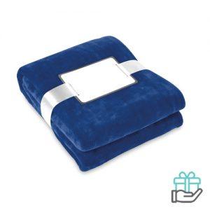 Flanellen deken blauw bedrukken
