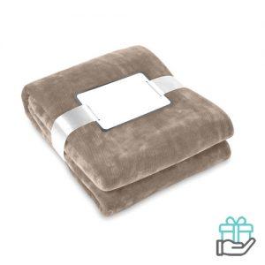 Flanellen deken khaki bedrukken