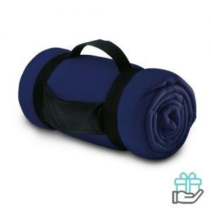 Fleece deken comfy blauw bedrukken